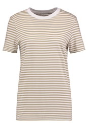 Selected Femme Sfmy Perfect Stripe Print Tshirt Bright White Slate Green