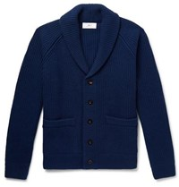 Mr P. Oversized Shawl Collar Ribbed Wool And Cashmere Blend Cardigan Navy
