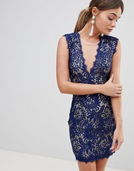 Zibi London Lace Bodycon Mini Dress Blue