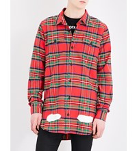 Off White C O Virgil Abloh Spray Effect Check Print Cotton Shirt All Over White Red
