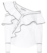 Self Portrait Frill Cotton Poplin Shirt White