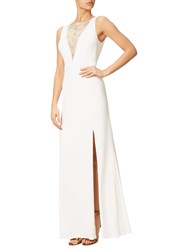 Adrianna Papell Jersey Halter Neck Gown White
