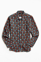Poler Bear Paw Print Corduroy Button Down Shirt Brown