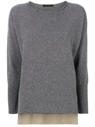 Fabiana Filippi Pullover With Sheer Exposed Underlay Cotton Polyester Cashmere Grey
