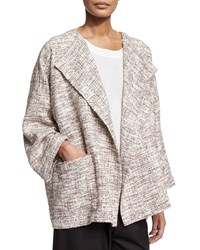 Eskandar Long Sleeve Open Front Coat Ivory