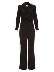 See By Chloe Long Sleeved Neck Tie Jumpsuit Black