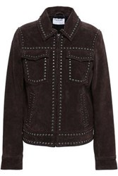 Frame Studded Suede Jacket Chocolate