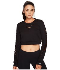 Alo Yoga Ripped Warrior Long Sleeve Top Black Women's Long Sleeve Pullover