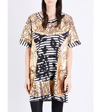 Anglomania Gold Printed Oversized Cotton T Shirt Black