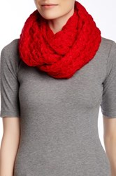 Nine West Chunky Zigzag Knit Infinity Scarf Red