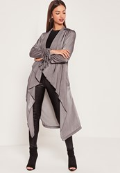 Missguided Waterfall Ruched Sleeved Satin Duster Jacket Grey Grey