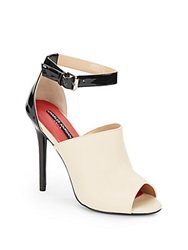 Charles Jourdan Casey Colorblock Leather Ankle Strap Sandals Bone Black