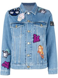 Kenzo Badges Denim Jacket Blue