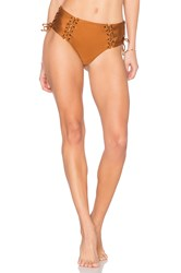 Prey Swim Lace Up High Waisted Bottom Metallic Bronze