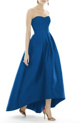 Alfred Sung Women's Strapless High Low Sateen Twill Gown Royalty