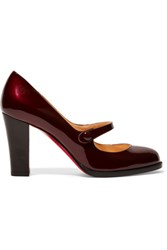 Christian Louboutin Top Street 85 Patent Leather Mary Jane Pumps Merlot