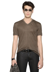John Varvatos V Neck Burnt Linen Jersey T Shirt Olive Green