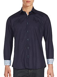 Jared Lang Butterfly Embroidered Button Down Shirt Navy