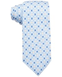 Countess Mara Men's Geometric Print Classic Tie Blue