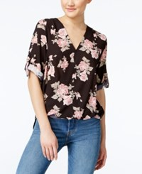 Amy Byer Bcx Juniors' Printed High Low Wrap Top Black Ground Rose