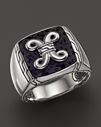 John Hardy Men's Batu Dayak Sterling Silver Signet Ring With Black Volcanic Rock Silver Black