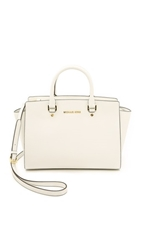 Michael Michael Kors Selma Medium Top Zip Satchel Optic White
