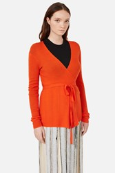 Proenza Schouler Rib Long Sleeve V Neck Wrap Cardigan Electric Red