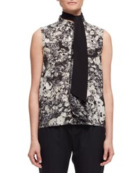 Lanvin Sleeveless Peony Print Tie Neck Top Black White Black White