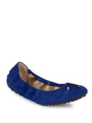Tod's Leather Tie Up Ballet Flats Light Blue