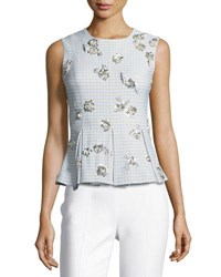 Brock Collection Tara Sleeveless Gingham Suiting Top W Embellishments Blue