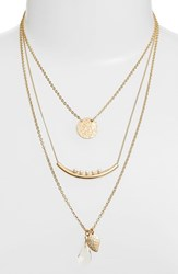 Women's Bp. Pendant And Charm Layered Necklace Ivory Gold