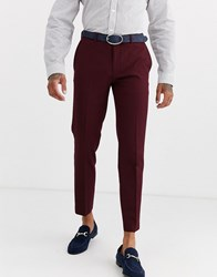 Burton Menswear Skinny Fit Trousers In Burgundy Red