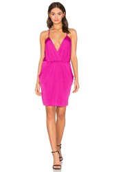 Bobi Black Luxe Liquid Jersey V Neck Bodycon Dress Fuschia