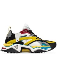 Calvin Klein 205W39nyc Multicoloured Strike 205 Suede And Leather Trim Lagoon Yellow White