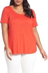 Sejour Plus Size Women's Scoop Neck Tee Red Bloom