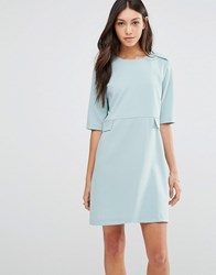 Traffic People Buttons Shift Dress Baby Blue