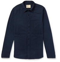 Aspesi Cotton Seersucker Shirt Navy