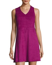 Cynthia Steffe Jewel Sleeveless Faux Suede Dress Purple