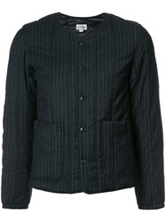 Engineered Garments Collarless Fitted Jacket Blue