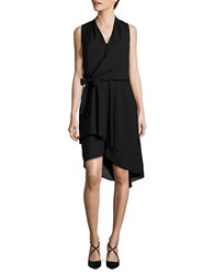 Mika And Gali Solid Faux Wrap Dress Black