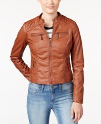 Joujou Jou Jou Juniors' Zip Front Faux Leather Moto Jacket Brandy