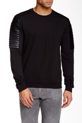 Versace Faux Leather Panel Crew Neck Sweater Black