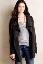 La Fee Verte Draped Boucle Cardigan Dark Grey