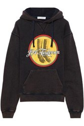 J.W.Anderson Woman Printed French Cotton Terry Hoodie Dark Brown