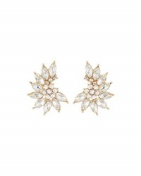Lydell Nyc Curved Crystal Cluster Stud Earrings