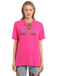Gucci Crystal Bow Cotton Jersey T Shirt