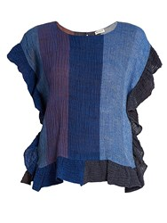 Masscob Ruffle Trimmed Linen Blend Top Blue Multi
