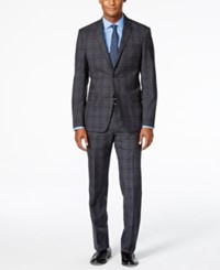 Dkny Men's Charcoal And Blue Plaid Slim Fit Suit