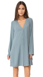 Bcbgmaxazria Button Flare Dress Light Ash Blue