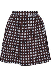 Msgm Checked Cotton Mini Skirt Brown